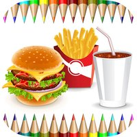 Food Coloring Book for Adults and Kids: Learn to color and draw a fast food, rice and more
