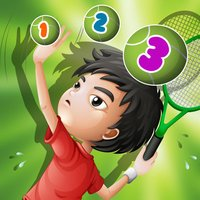 Action on the tennis court; counting game for children: learn to count 1 - 10