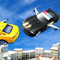 Flying Police Car Driver & Motor Bike Rider Chase