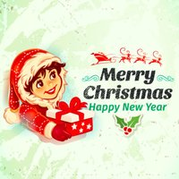 Merry Christmas & Happy New Year Vintage Stickers