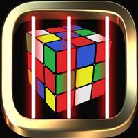 Cube magic runner escape laser room in dark