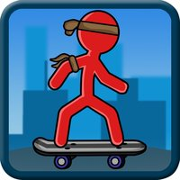 Stick-Man Skate-boarding City Sport Block Jump