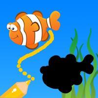 Draw line to twinned shadow of marine animals