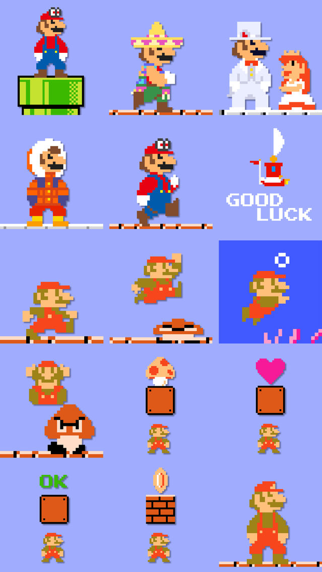 8-bit Super Mario Stickers App for iPhone - Free Download 8