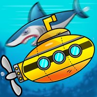 Submarine shooting shark in underwater adventure