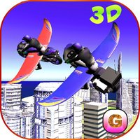 Flying Bike: Police vs Cops - Police Motorcycle Shooting Thief Chase Free Game