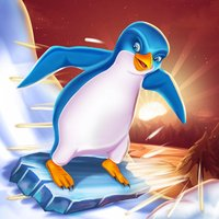 Penguin Snow Surfing