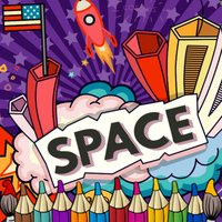 Space Galaxy coloring book drawing painting kids