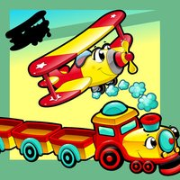 Animated Kids Game: Shadow Puzzle with Funny Cars and Planes in the City