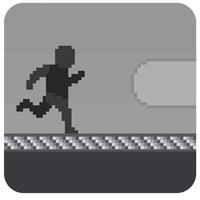 Pixel Alien Escape Shadow Runner:Black nd White