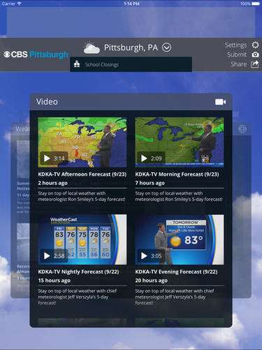 CBS Pittsburgh Weather App for iPhone - Free Download CBS