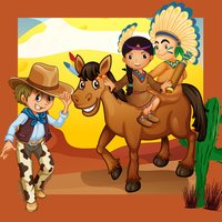 Cowboys & Indian-s Kids-Games: Colour-ing Book & Shadow Baby Puzzle for Children age 2 to 5