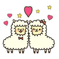 Couple Alpaca in Love Sticker