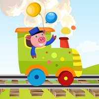 A Find the Shadow Game for Children: Learn and Play with Animals Boarding a Train