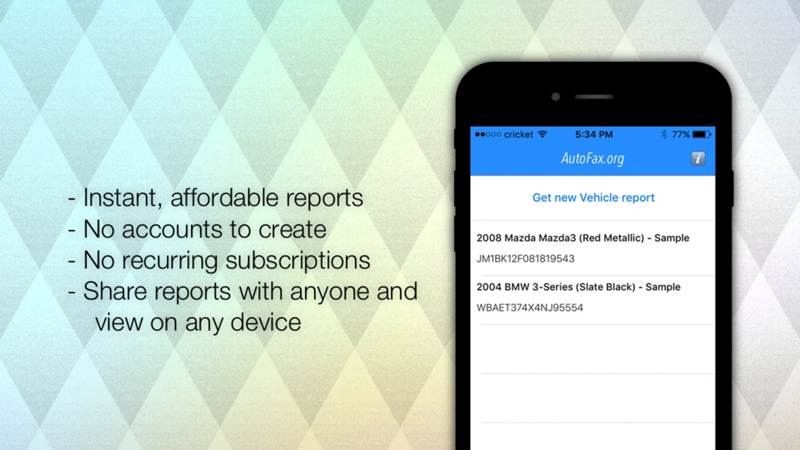 Vehicle History Report Free >> Autofax Vehicle History Report App For Iphone Free