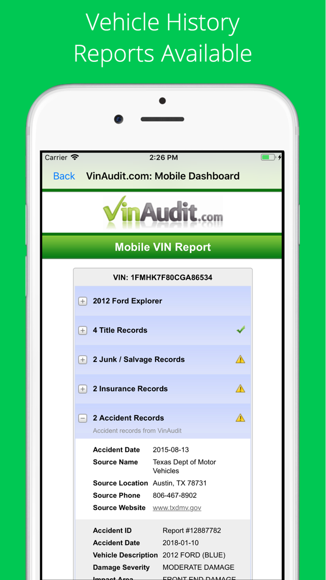 Vin Check Report For Used Cars App For Iphone Free Download Vin