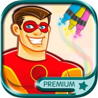 Superheroes coloring pages for kids - Premium