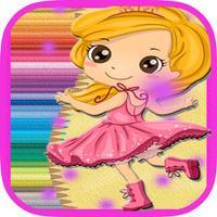 Lady Girls Princess-Doll Coloring Book