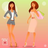 Girlish Women Shopping