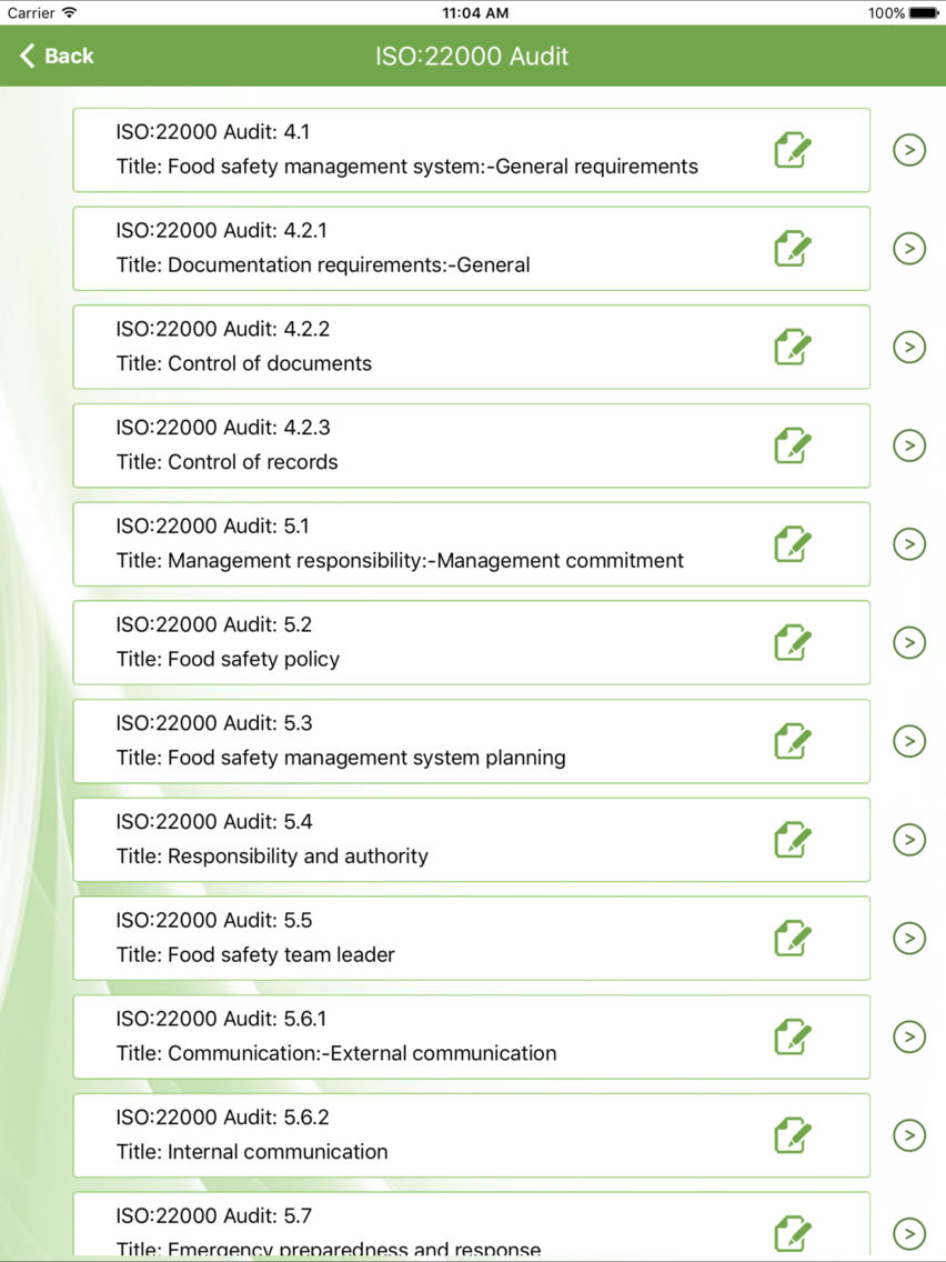 ISO 22000- Internal Food Safety Audit App for iPhone - Free