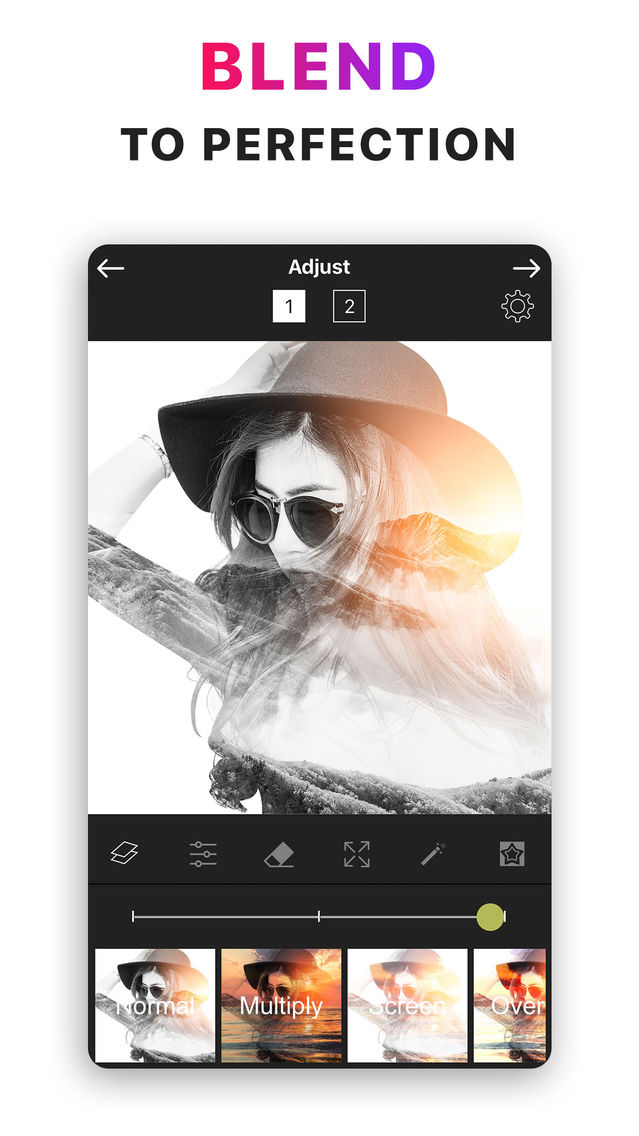 How to blend 2 photos on iphone