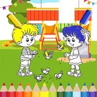 Boy and Girl Playground Coloring Games For Kids