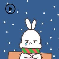 Animated Cute Rabbit In Winter