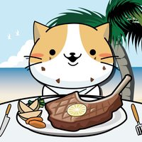 Cat's gluttony competition in Hawaii BBQ