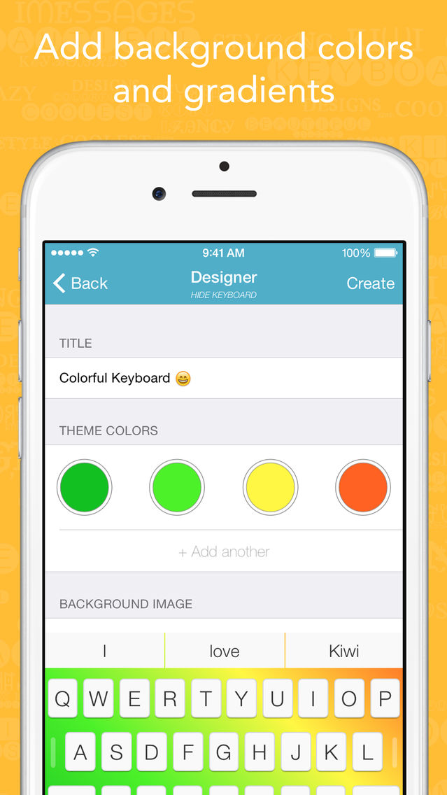 Kiwi - Colorful, Custom Keyboard Designer with Emoji for iOS