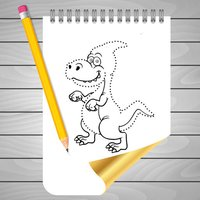 Coloring Book and Drawing Dinosaur on Sketch Line