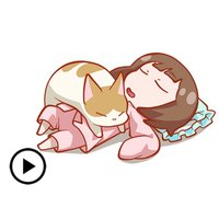 Girl And Cat Animated Sticker