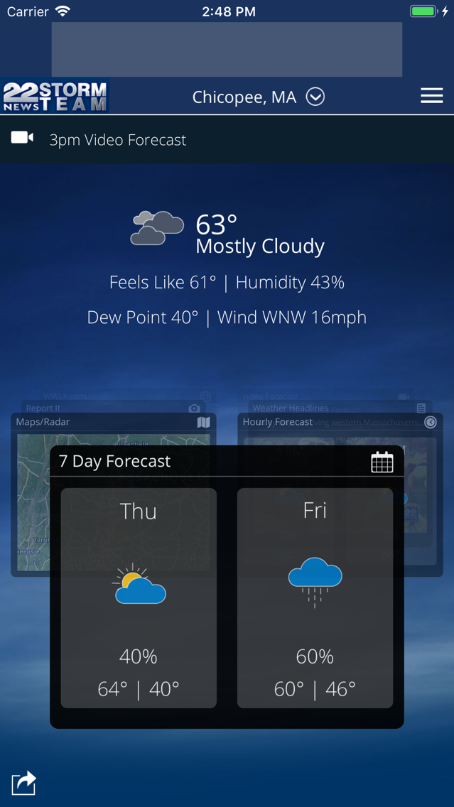 WWLP Weather App for iPhone - Free Download WWLP Weather for