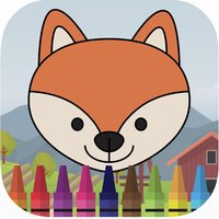 Cute animal in farm coloring book games for kids