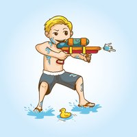 Songkran Water Gun Stickers
