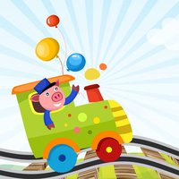 A Sort By Size Game for Children: Learn and Play with Animals Boarding a Train