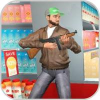 Robber Shooting Gun Escape