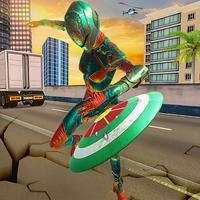 Flying Superhero Captain Girl