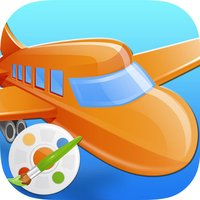 Vehicles Airplanes Trains Coloring Book : Kids Easy Paint Fun Drawing Games