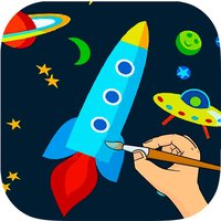 Outer Space Coloring Book -  Astronaut Alien Spacecraft Draw & Paint Pages Learning Games For Kids