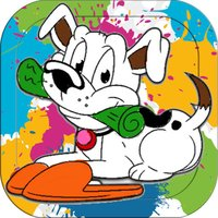 Cute Dog Coloring Paint - Activities Finger Pages