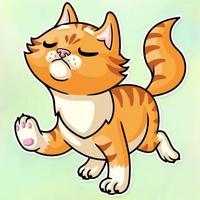 Striped Orange Cat Stickers