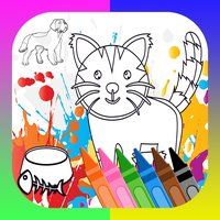 dog cats and pet - animal face coloring book pages