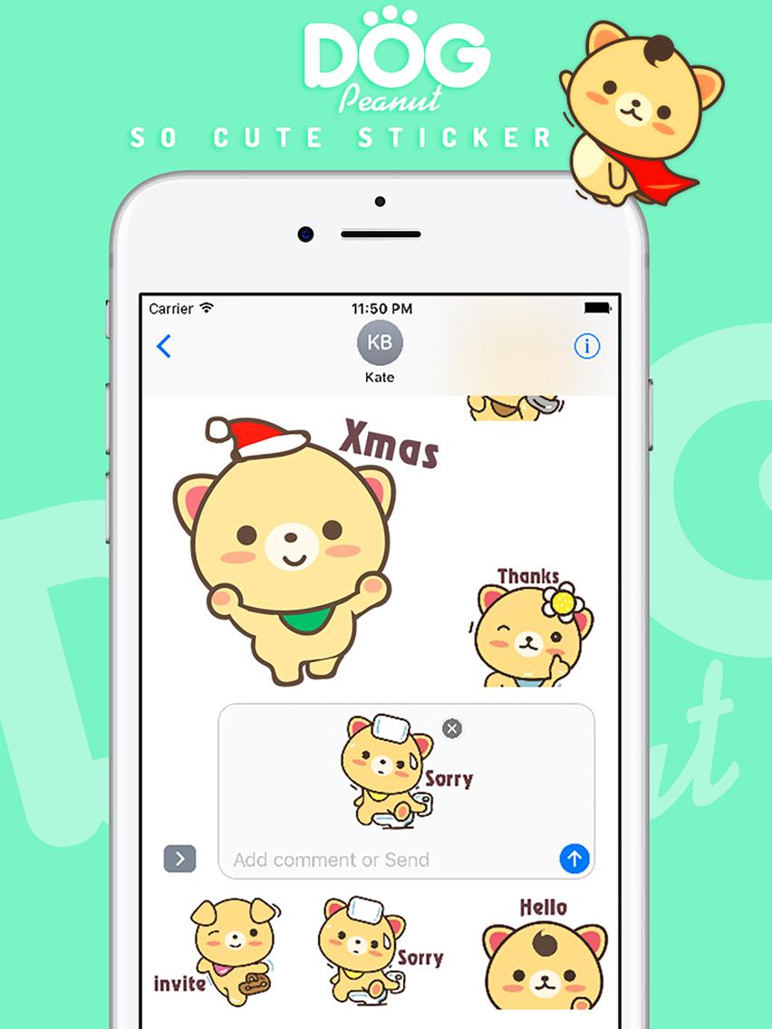 Peanut dog sticker pro christmas new year emoji