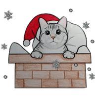 Cute Christmas Cat Sticker
