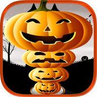 Creepy Funny Halloween Pumpkin Tower Stack