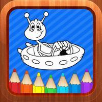 Alien Monster Cartoon Toddlers Kids Coloring Books