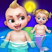Mermaid newborn twins baby care