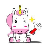 Pink and White Unicorn Emoji Sticker