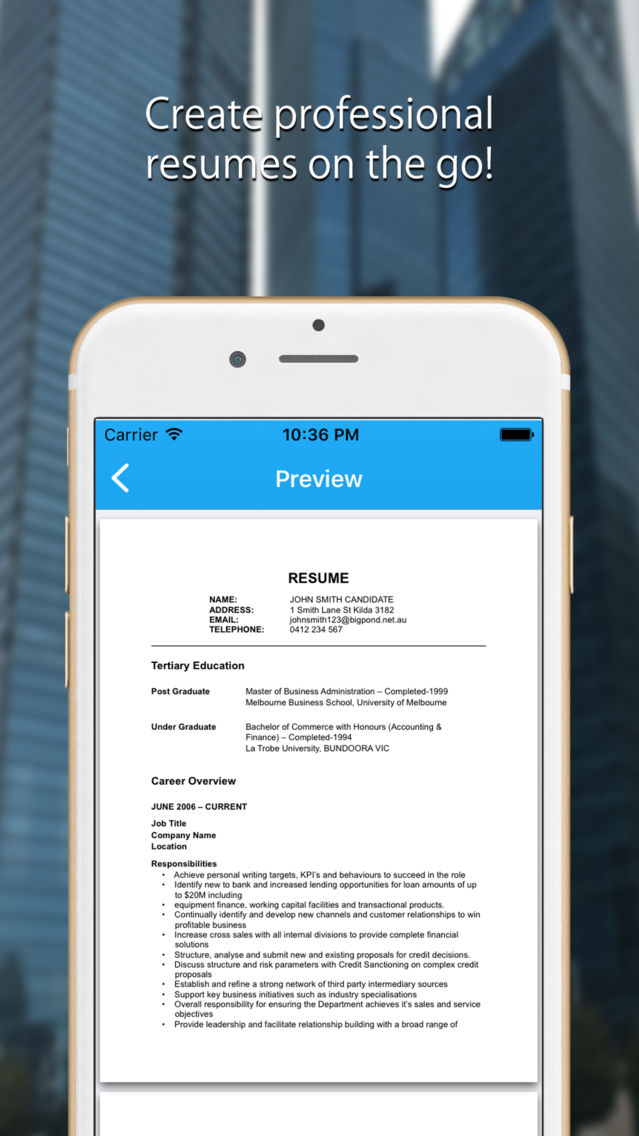 Resume Builder Cv Template App For Iphone Free Download Resume Builder Cv Template For Iphone Ipad At Apppure