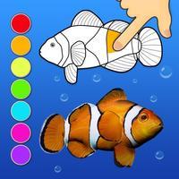 Dancing fishes. 3D Coloring App